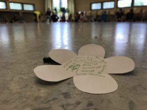 Kukanmuotoinen paperi, jossa lukee erään leiriläisen kiitosaiheita.